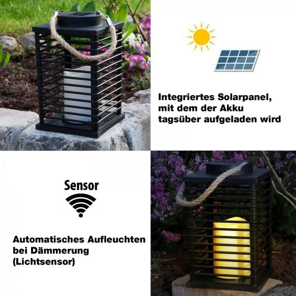Grafner® LED Solar Laterne mit Kerze 24cm Außen Windlicht mit Kordel