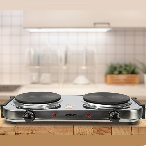 Grafner® Kochplatte doppelt 2000 Watt mit klappbaren Griffen Edelstahl KP10882