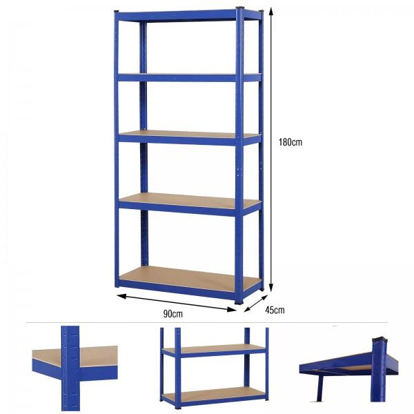 Grafner® Schwerlastregal 1,80m 1325kg Traglast Werkstattregal auf 5 Ebenen
