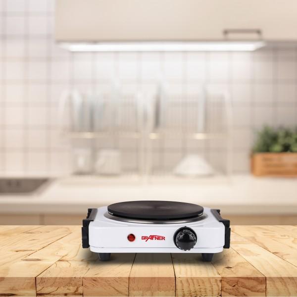 Grafner® Kochplatte einzel 1000 Watt mit klappbaren Griffen Weiß KP10877
