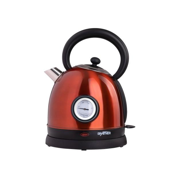 Grafner® Retro-Wasserkocher 1,8 Liter 2200 Watt mit Thermometer kupfer WK10863