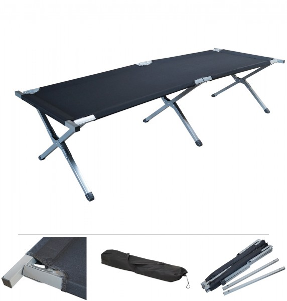 Grafner® Feldbett klappbar Campingbett inkl. Tragetasche in schwarz
