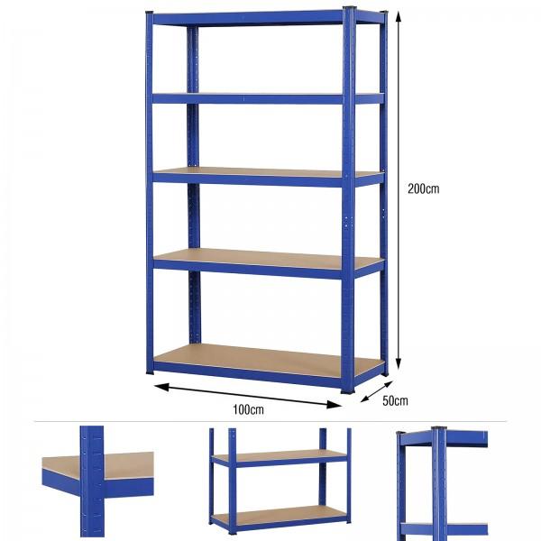 Grafner® Schwerlastregal 2,0m 875kg Traglast Werkstattregal auf 5 Ebenen