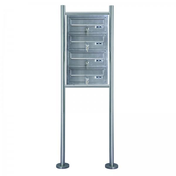 Grafner® Edelstahl Briefkastenanlage für Mehrfamilienhäuser 4 Einheiten 150cm Standbriefkasten