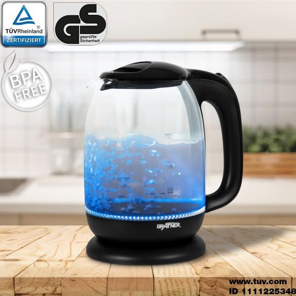 Grafner® Design-Wasserkocher Glas 1,7l max. 2200W WK10857 TÜV/GS