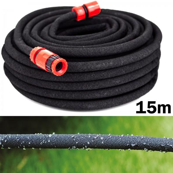 Grafner® 15m Bewässerungsschlauch mit Perlfunktion schwarz Perlregner Perlschlauch Tropfschlauch