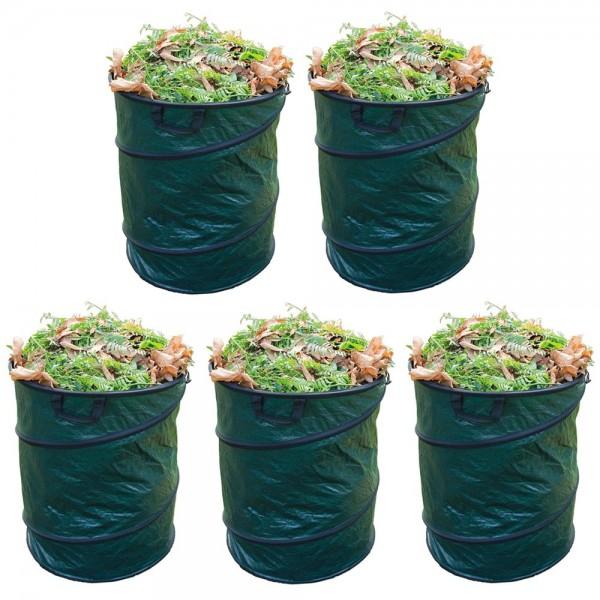 5er Set Grafner® Pop-Up Gartenabfallsack 80 Liter Gartentasche rund Laubsack