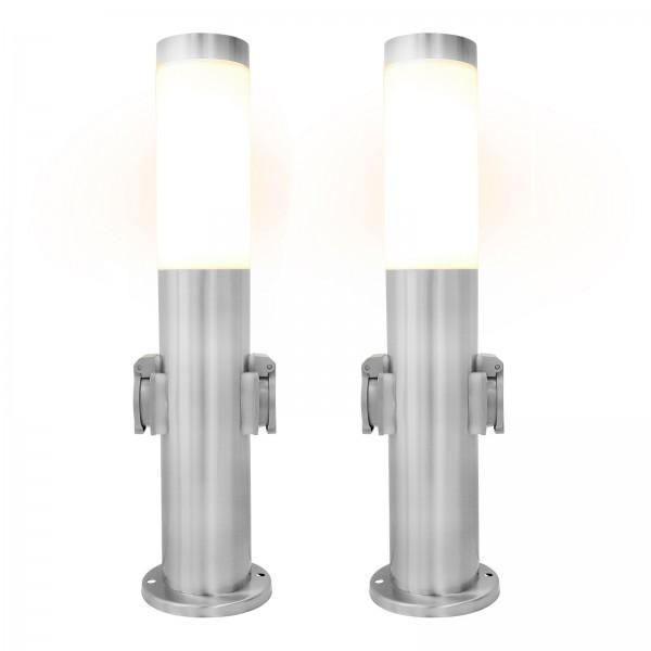2er Set Grafner® Edelstahl Wegleuchte mit 2 Außensteckdosen Gartenlampe 45 cm