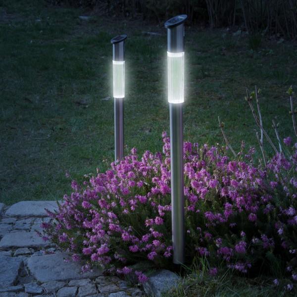 2er Set Grafner® XXL LED Solarlampe mit Erdspieß 72cm Solarleuchte aus Edelstahl Solar Wegleuchte