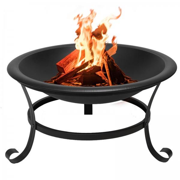 Grafner® Feuerschale mit Funkenschutzgitter, Feuerhaken und Kohlerost Feuerkorb Ø 52cm