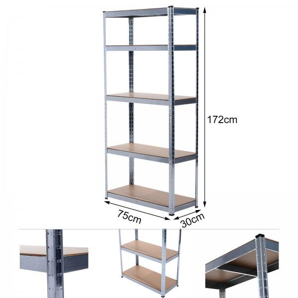 Grafner® Schwerlastregal 1,72m Werkstattregal auf 5 Ebenen 375kg Traglast