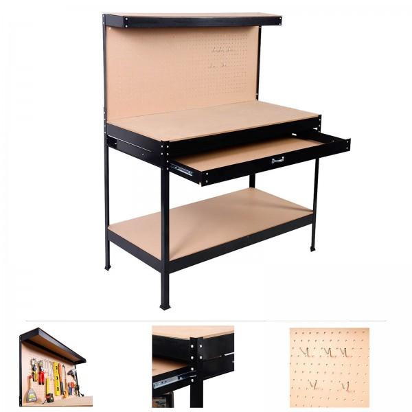 Grafner® Werkbank mit Schublade und Lochwand Werkzeugtisch