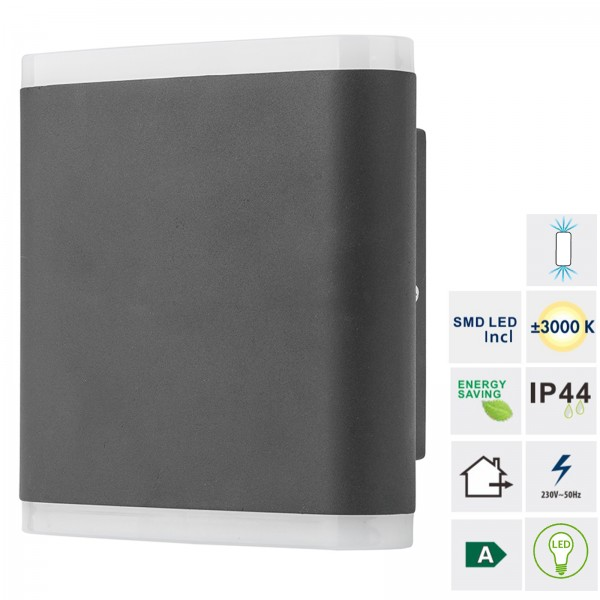 Grafner® Aluminium LED Wandlampe 6046-2 Leuchte Lichtschein Up&Down/Oben&Unten in dunkelgrau