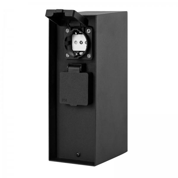 Grafner® Steckdosensäule Schwarz mit 2 Außensteckdosen Edelstahl Gartensteckdose Energiesäule