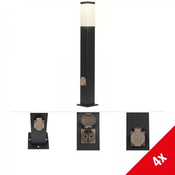 Grafner® Wegleuchte Standleuchte 80 cm anthrazit mit 2 Steckdosen
