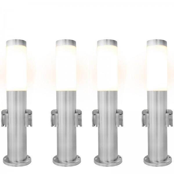 4er Set Grafner® Edelstahl Wegleuchte mit 2 Außensteckdosen Gartenlampe 45 cm