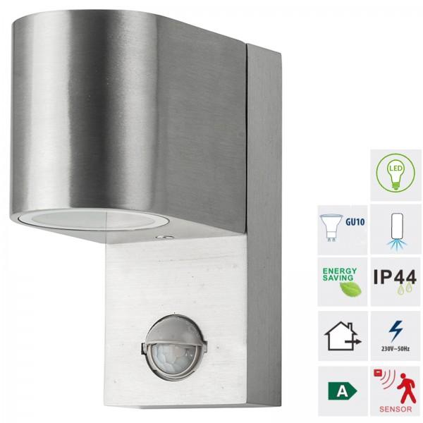 Grafner® Aluminium Poliert Wandlampe mit Bewegungsmelder 37WBPIR Leuchte Lichtschein Down/Unten