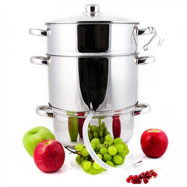 Grafner® XXL Edelstahl Dampfentsafter 8 Liter mit Schlauch + Klemme Fruchtentsafter