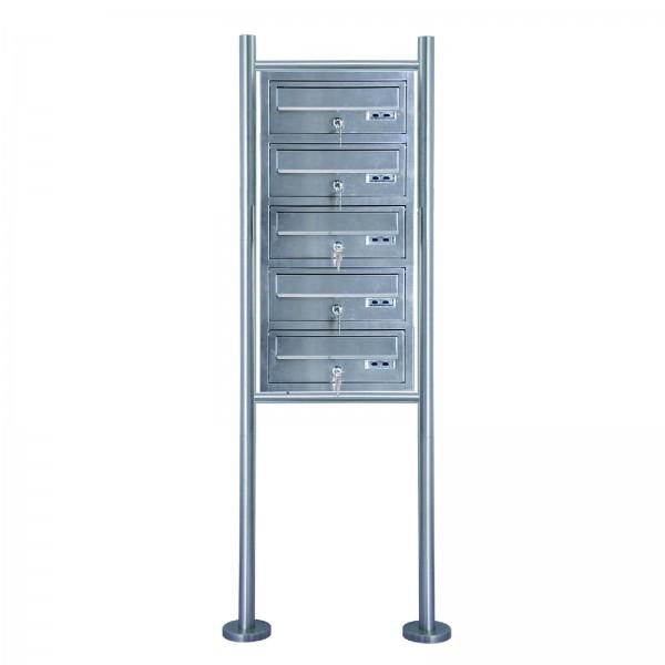 Grafner® Edelstahl Briefkastenanlage für Mehrfamilienhäuser 5 Einheiten 150cm Standbriefkasten