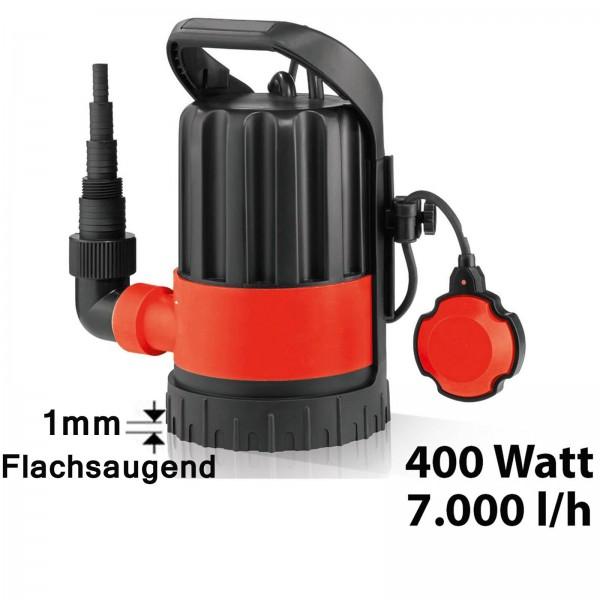Grafner® Klarwasserpumpe Flachsaugerpumpe 400 Watt 7000 l/h Tauchpumpe Poolpumpe Entwässerungspumpe