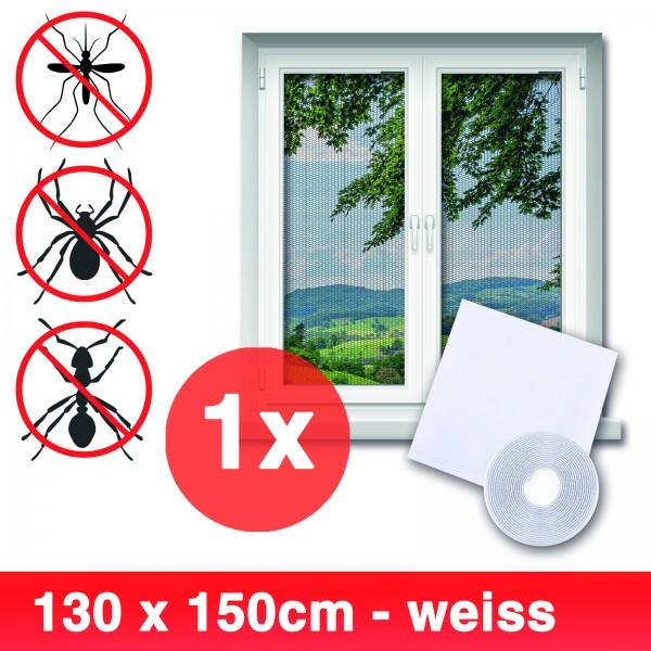Grafner® Insektenschutz Fliegengitter Fenster 130x150cm mit Klettband IS10908 weiß
