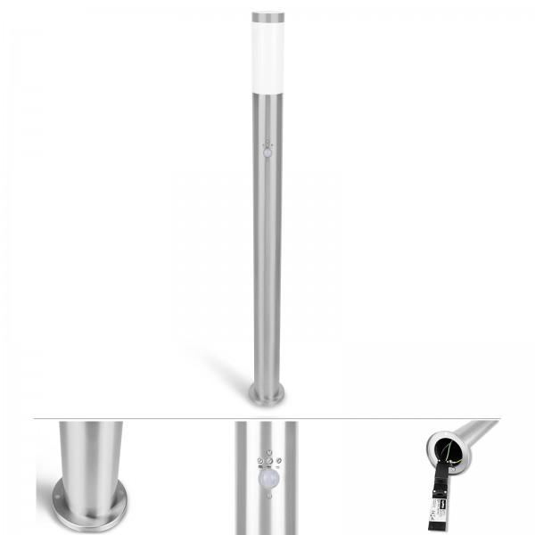 Grafner® Edelstahl Wegleuchte mit Bewegungsmelder WL10191 Gartenlampe 110 cm