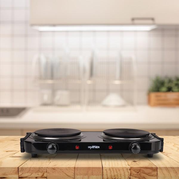 Grafner® Kochplatte doppelt 2000 Watt mit klappbaren Griffen Schwarz KP10880