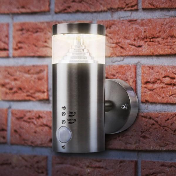 Grafner® Edelstahl Wandlampe mit Bewegungsmelder 108WBPIR Leuchte mit integrierten LED Leuchtmittel