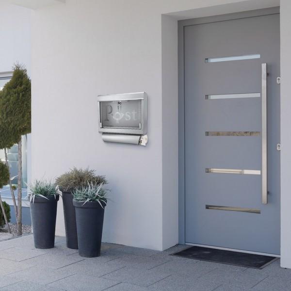 Grafner® Briefkasten mit Zeitungsrolle aus Edelstahl und Glas Motiv Post