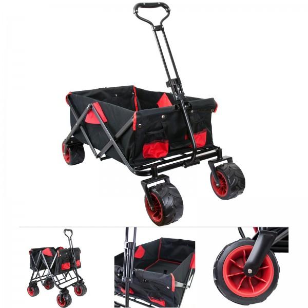 Grafner® Faltbarer Bollerwagen Offroad schwarz/rot Handwagen Klappbar