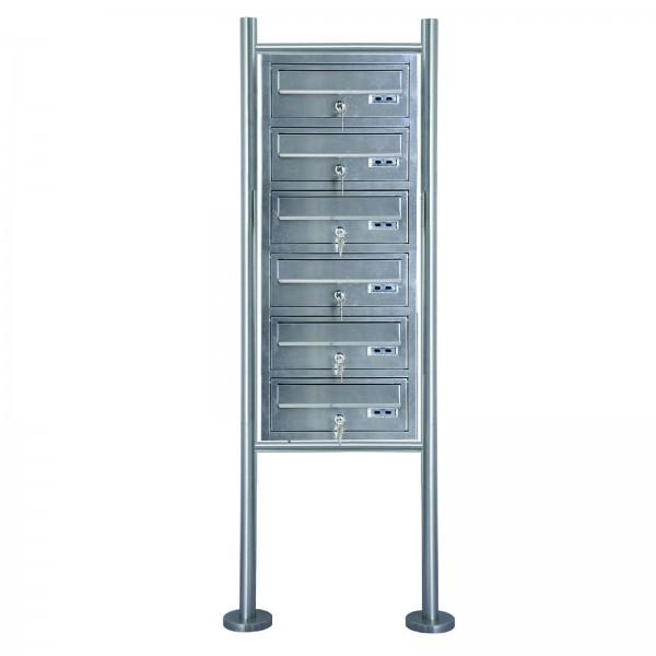 Grafner® Edelstahl Briefkastenanlage für Mehrfamilienhäuser 6 Einheiten 150cm Standbriefkasten