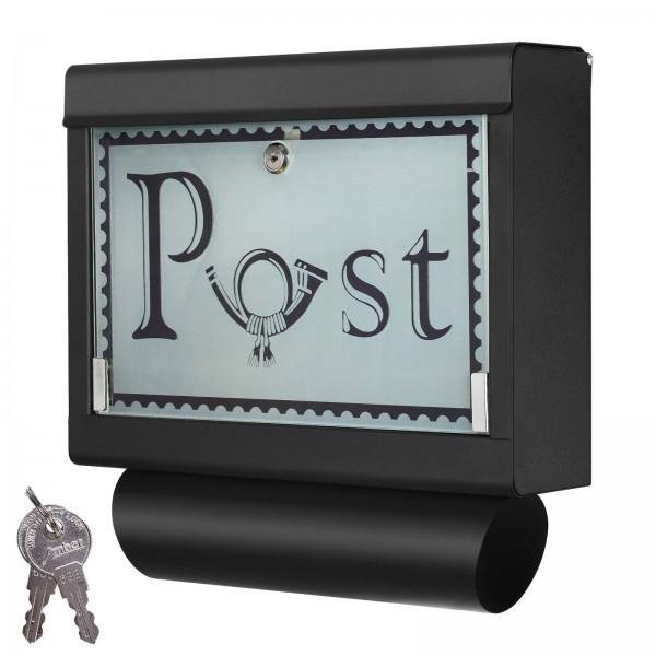 Grafner® Briefkasten mit Zeitungsrolle Schwarz aus Edelstahl und Glas Motiv Post