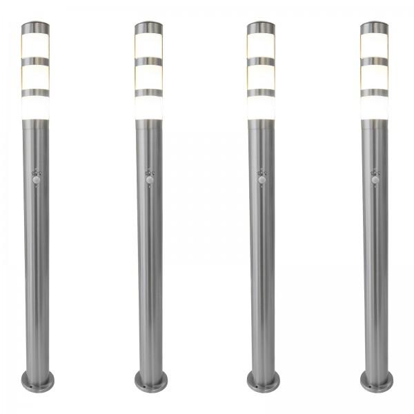 Bundle 4x Grafner® XXL Edelstahl-Wegleuchte mit Bewegungsmelder 137S11PIR (4x 14514)