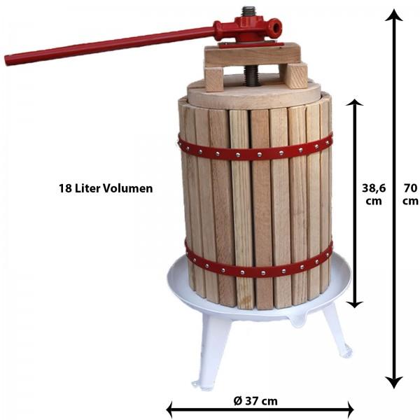 Grafner® Obstpresse 18 Liter Füllkorb aus amerikanischer Eiche mit 1 Presstuch Saftpresse Weinpresse