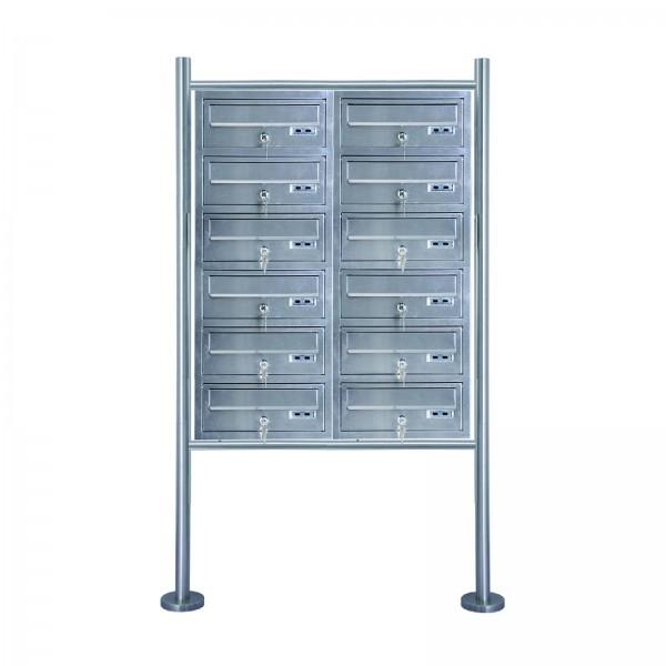 Grafner® Edelstahl Briefkastenanlage für Mehrfamilienhäuser 12 Einheiten 150cm Standbriefkasten