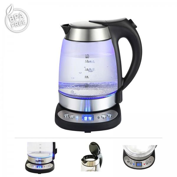 Grafner® Digitaler Glas Wasserkocher mit Temperaturwahl und LED Beleuchtung 2200 Watt 1,7L