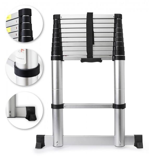 Grafner® Alu Teleskopleiter 3,2m mit Softclose und Querfuß Mehrzweckleiter