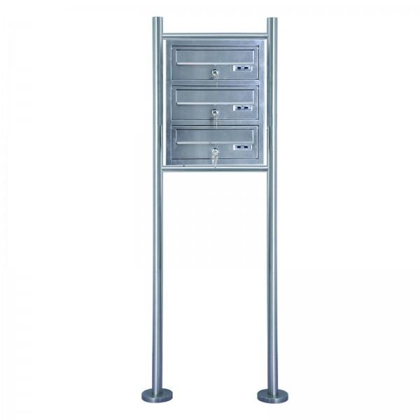 Grafner® Edelstahl Briefkastenanlage für Mehrfamilienhäuser 3 Einheiten 150cm Standbriefkasten