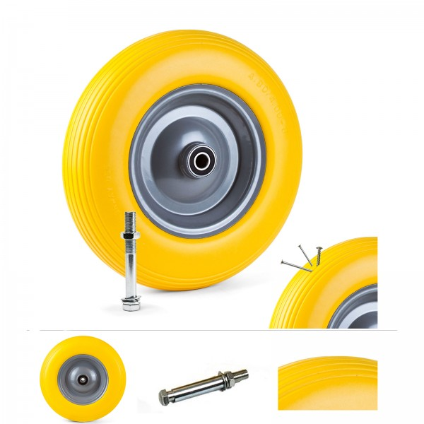 Grafner® Schubkarrenrad 4.00-8 PU Vollgummibereifung FlatFree Metallfelge mit Achse Schubkarrenreifen